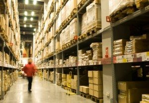 Case picking and piece picking in a warehouse