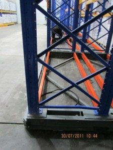 View of rackig sitting on mobile bases installed in a freezer warehouse