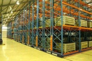 Wine storage in a warehouse using mobile racking