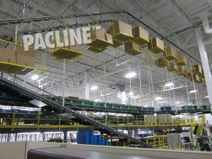 Overhead conveyors carrying cardboard cartons