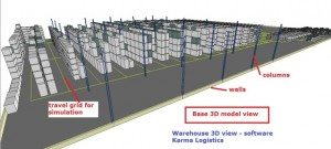 Warehouse in 3D showing travel routes of lift trucks