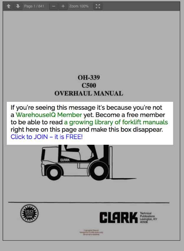 Become a free member to be able to read a growing library of forklift manuals