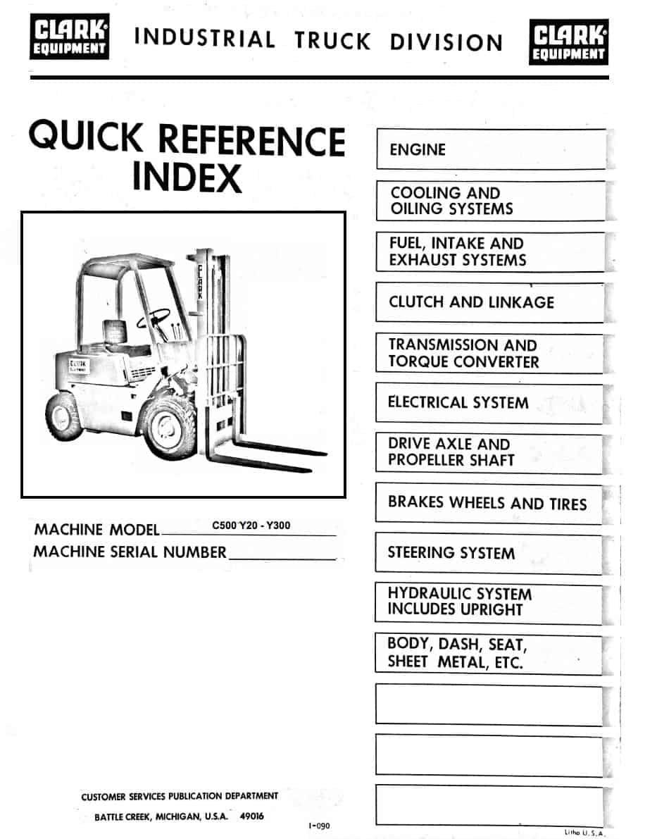 Clark C500 Y20 To Y300 Forklift Parts Manual